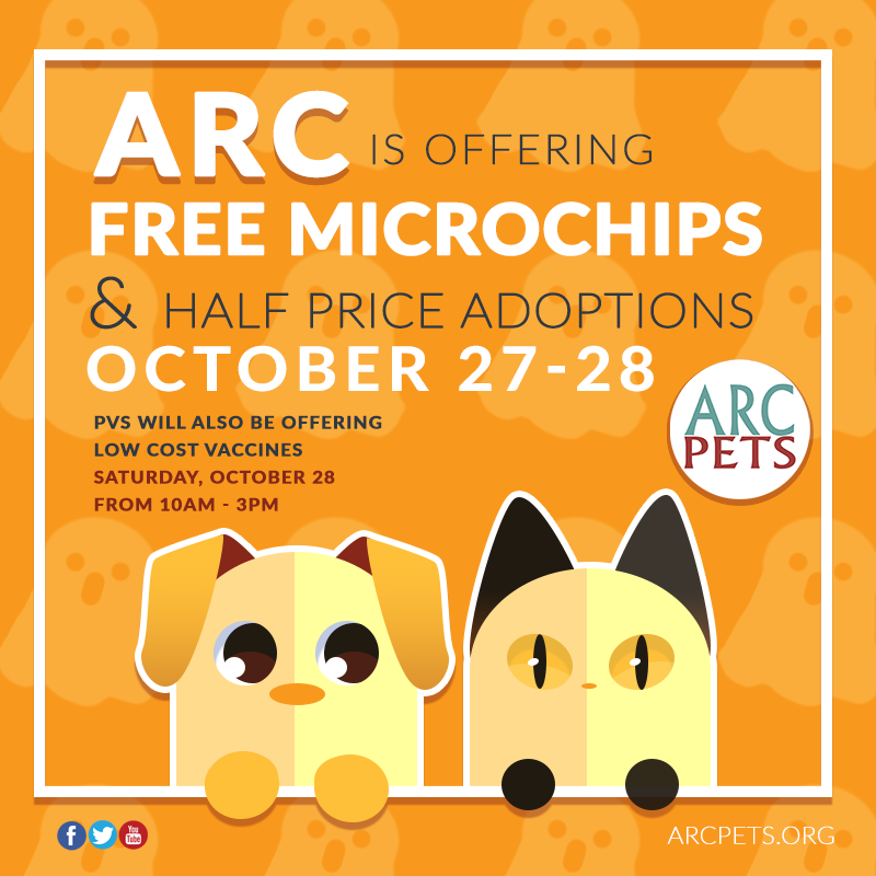 "Image reading ""free microchips at ARC on October 27 and 28, 2017."""