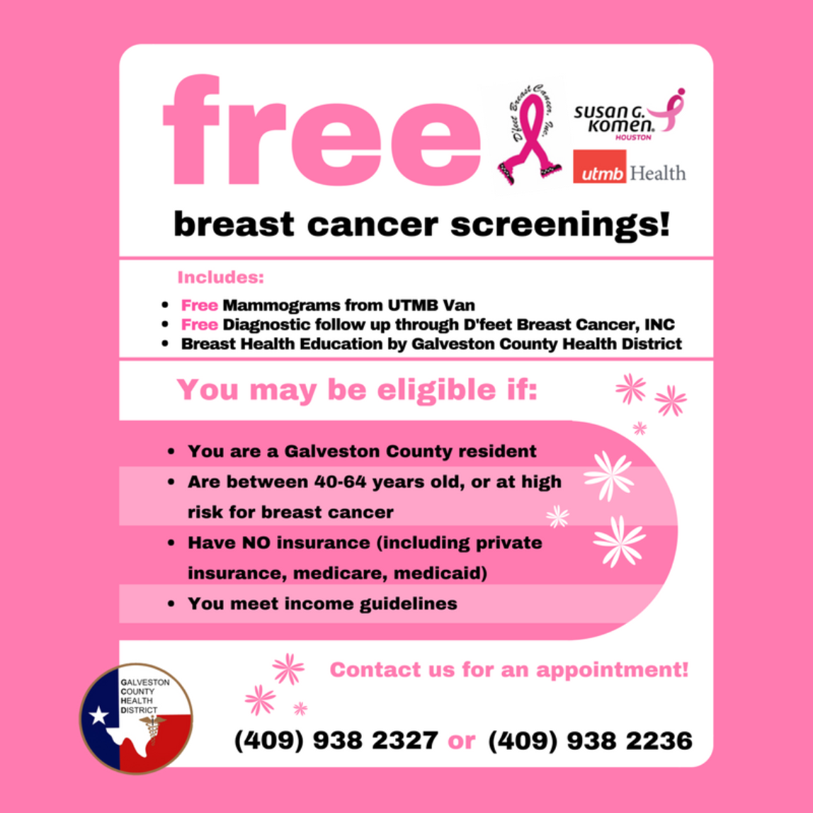 Womens health screenings galveston county health district graphic reading free breast cancer screenings aiddatafo Choice Image