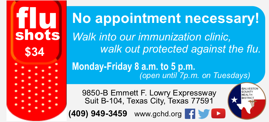 "Flyer reading ""Flu shots $34, no appointment necessary at the GCHD Immunization Clinic"""