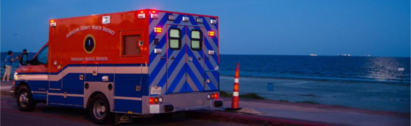 Picture of ambulance on beach.