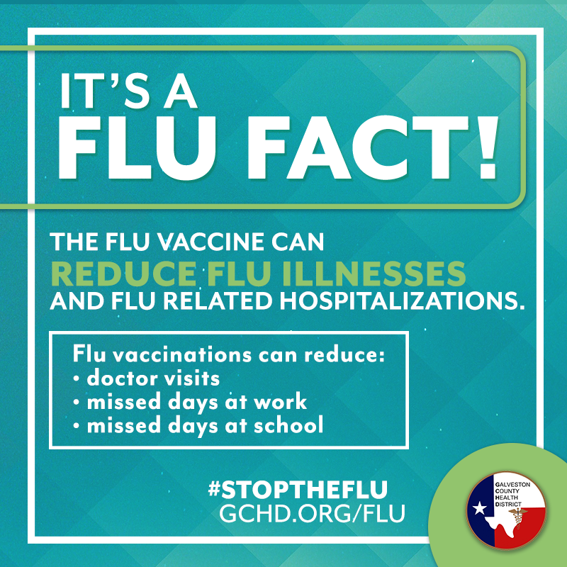 "Image that reads ""the flu vaccine can reduce severity of flu symptoms for those who get the virus."""